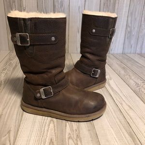 Uggs brown leather boots with buckles